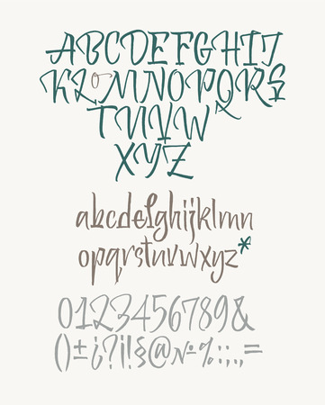 Latin calligraphic alphabet written with brush. Lowercase, numbers and punctuation Ilustração