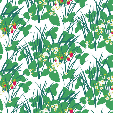 Strawberry field in the forest seamless pattern. Summer nature Ilustração