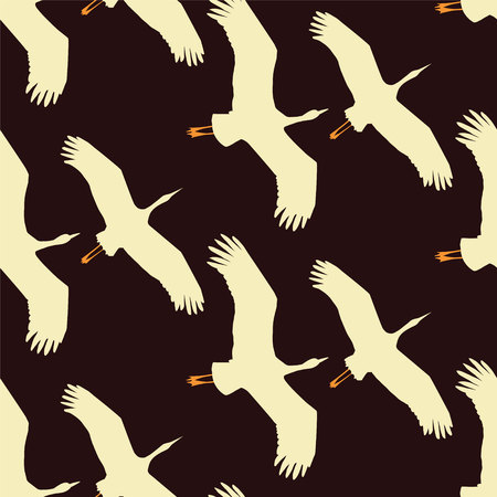 Flying cranes seamless pattern on brown-violet background Ilustração
