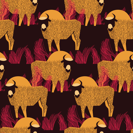 Bison in a field in high grass seamless pattern in orange, pink and violet-brown