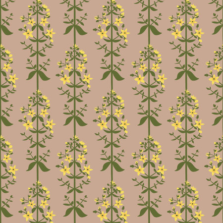 Saint Johns wort flowers seamless pattern on pink background. Wild flowers