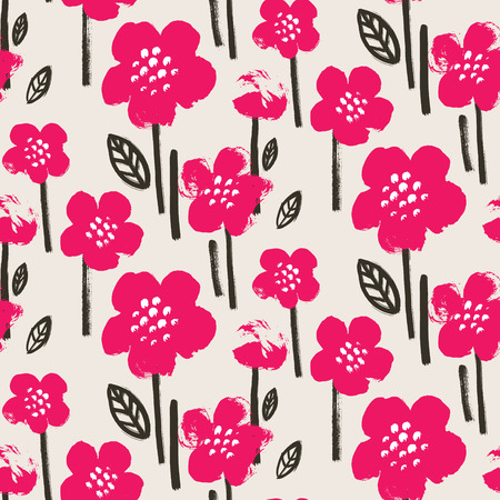 Brush textured flower pattern. Bright pink and black on beige