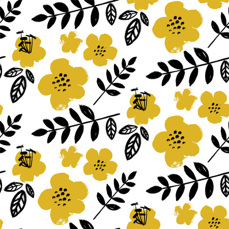 Brush textured flower pattern. Bright yellow and black on white Ilustração