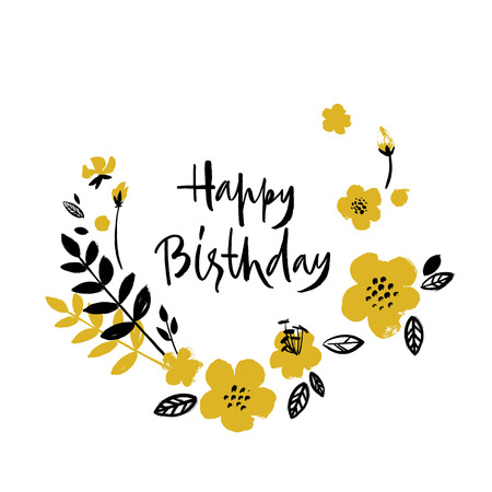 Brush textured flower birthday card. Bright yellow and black on white