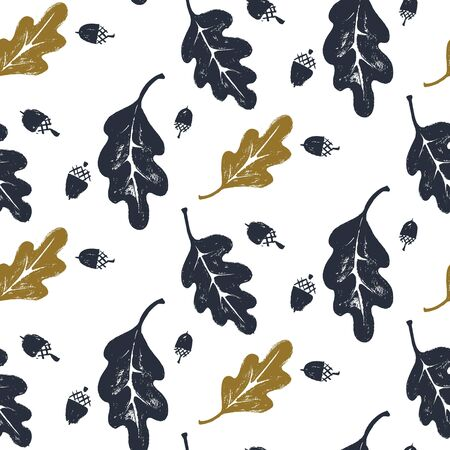 Leaves and acorns pattern in black and white