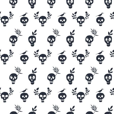 Skull regular polka dot pattern with plants and bird. Funny face expressions