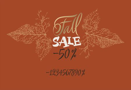 Sale fall tag with numbers. Set up your season discount. New offer. Price reduce