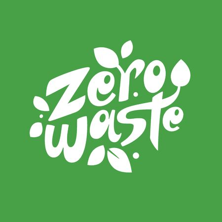 Zero waste lettering composition on green background