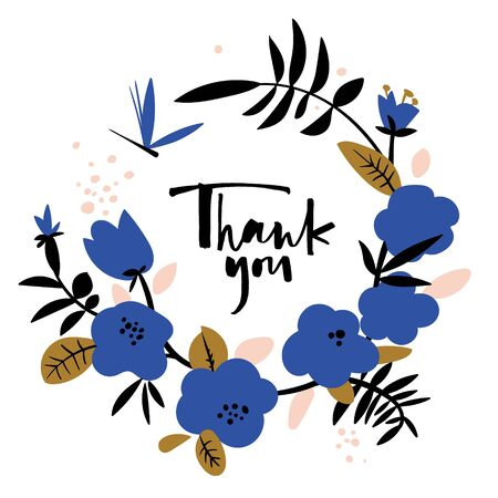 Thank you card in blue. Stock Vector - 129730106