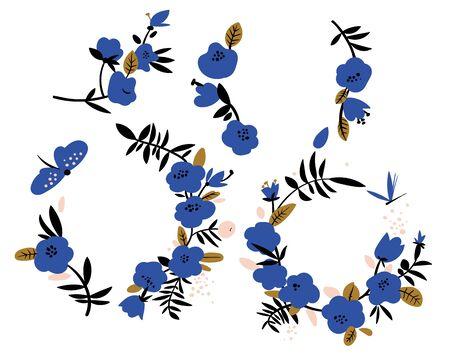 Abstract blue flowers wreaths. Frames for wedding Foto de archivo - 129730110