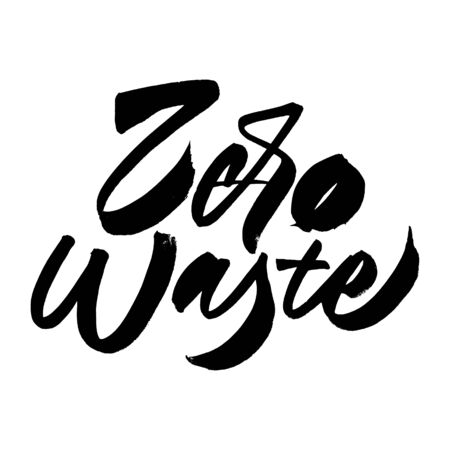 Zero waste lettering composition black and white