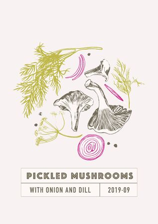 Pickled mushrooms set with dill and onion in pink and green colors. Hand drawn with brush and ink chanterelles. Homemade canning. Seamless pattern and set of ingredients Illustration