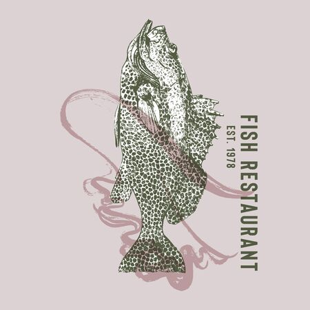 Seafood restaurant logotype with grouper fish dancing flamenco. Hand drawn fish by waves of flamenco skirt vector illustration. Spanish Dance and Food Theme Party. Pink and green. Design template.