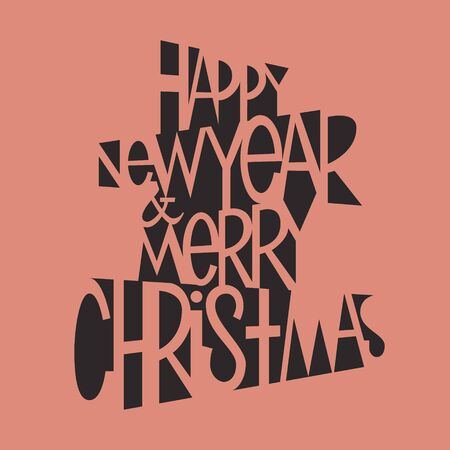 Happy New Year and Merry Christmas lettering for card, poster or banner