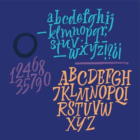 Carattere scritto a mano. Script. Set calligrafico latino con numeri e punteggiatura