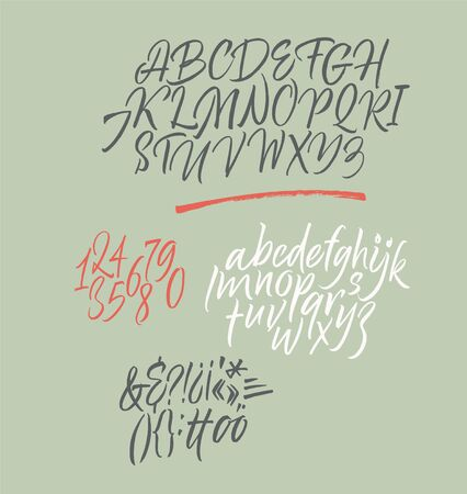 Handwritten font. Script. Calligraphic set with numbers and punctuation 矢量图像