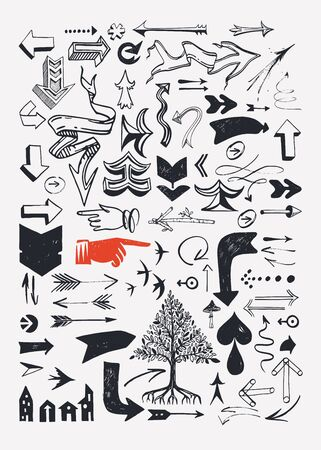 Set of various typographic arrows. Realtor topic. Houses, comfort living, garden, suburban. Rent and buy houses. Illustration