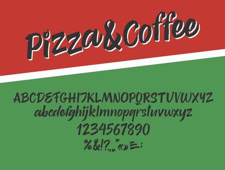 Pizza and coffee handwritten font. Script. Calligraphic set 矢量图像