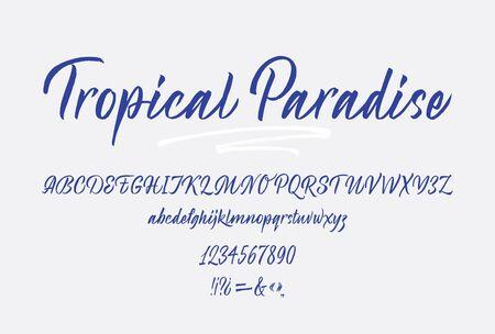 Tropical Paradise handwritten font. Script. Calligraphic set