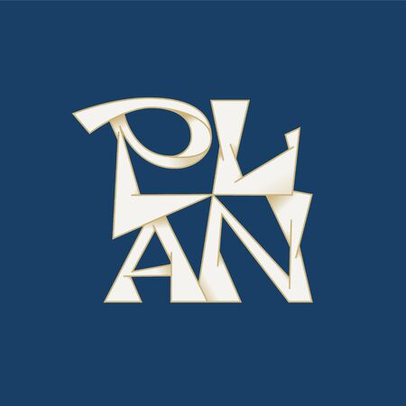 Plan lettering for poster, t-shirt or logotype blue and white 矢量图像