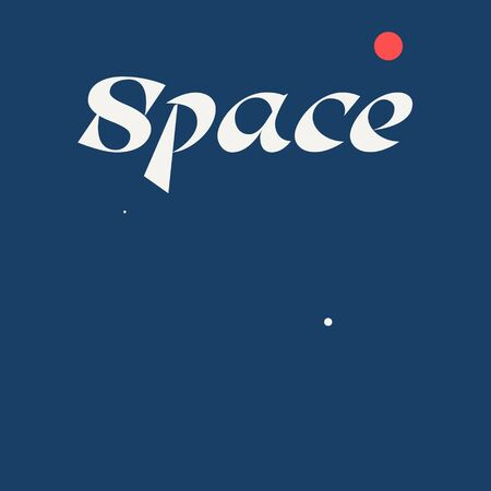Space lettering for poster, t-shirt or logotype blue and white 矢量图像