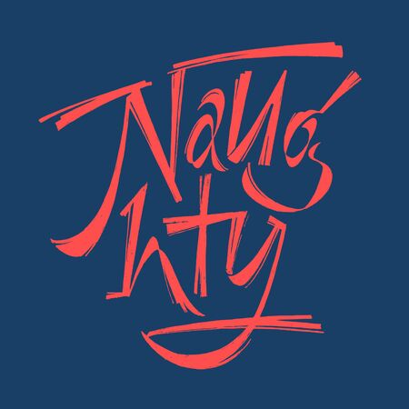 Naughty lettering for poster, t-shirt or logotype blue and red 矢量图像
