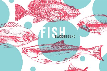 Beautiful fish background in bright blue and pink. Fish drawing with brush and ink with awesome live texture