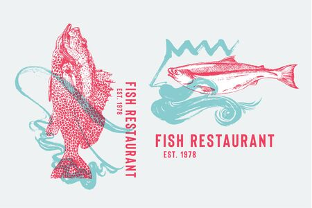 Seafood restaurant logotype with grouper fish dancing flamenco and Salmon with Neptune. Hand drawn fish by waves of flamenco skirt vector illustration. Spanish Dance and Food Theme Party. Pink and green. Design template.