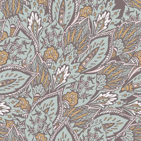 Eastern pattern with flowers, feathers and leaves in pale pink and blue shadows 矢量图像