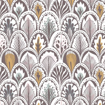 Exotic feather pattern in mustard, pink and blue