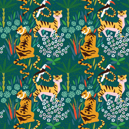 Indian tigers in the tropical wood. Seamless pattern