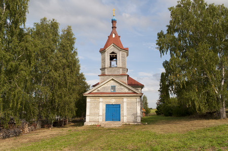 russian orthodox: Old wooden Russian Orthodox Church in the village Stock Photo