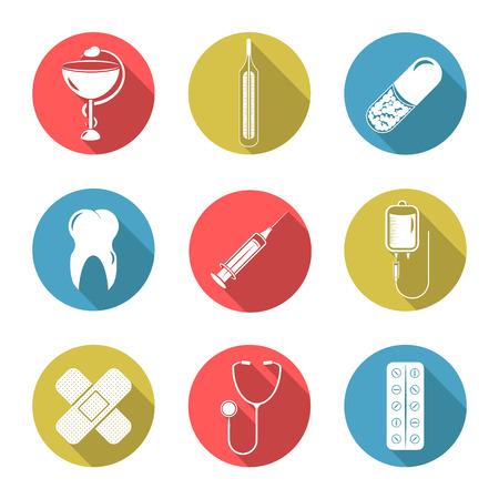 human body substance: Set of nine icons on a theme medicine.