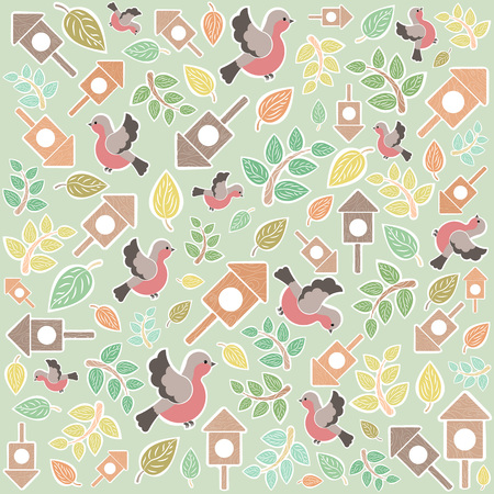 Bright background with spring motifs. The birds, birdhouses and leaf. Illustration