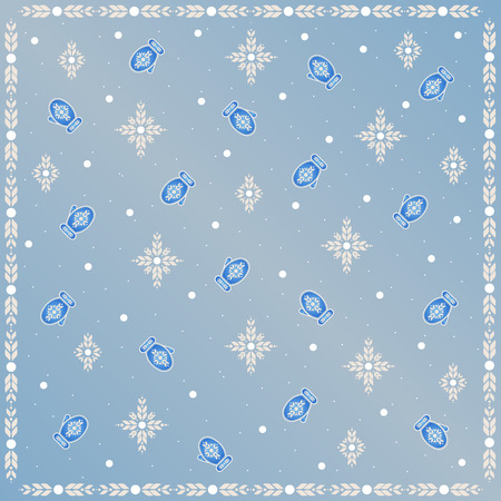 Bright pattern with winter motifs. Snowflakes and mittens. Ethnic ornament.