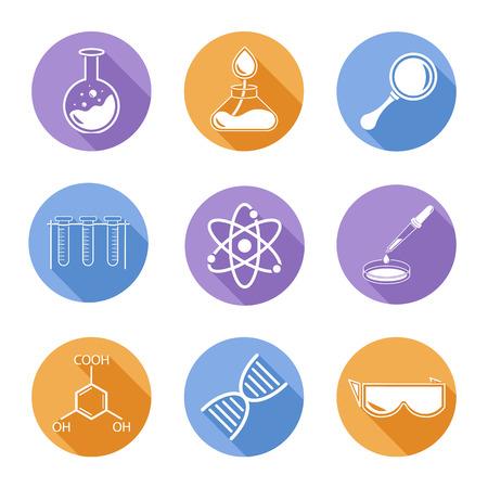 Set van negen pictogrammen op een thema van de wetenschap. Stock Illustratie
