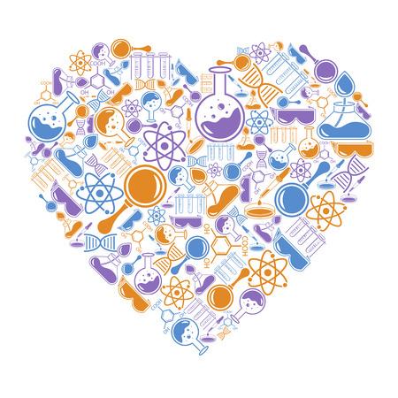 Ansichtkaart in de vorm van een hart over wetenschappelijke onderwerpen. Vector Illustratie
