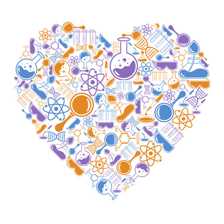 Pocztówka w formie serca na tematy naukowe. Ilustracje wektorowe