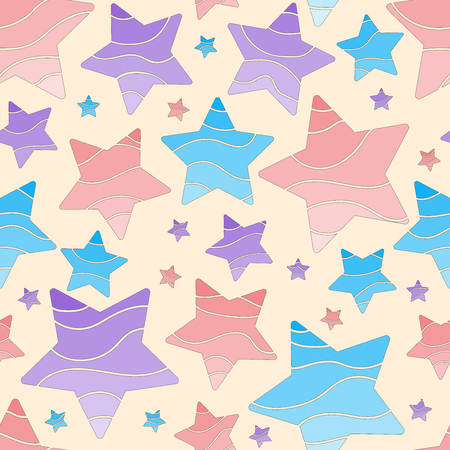 Seamless pattern. Bright colors. Cartoon starry sky.