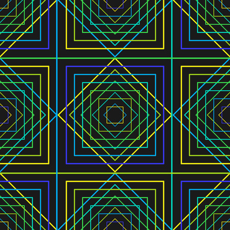 Seamless Texture. Pattern with neon rhombuses and squares. Smooth seam. Illustration