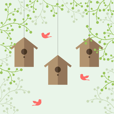 nesting: illustration of nesting boxes, green branches and pink birds on light green background.