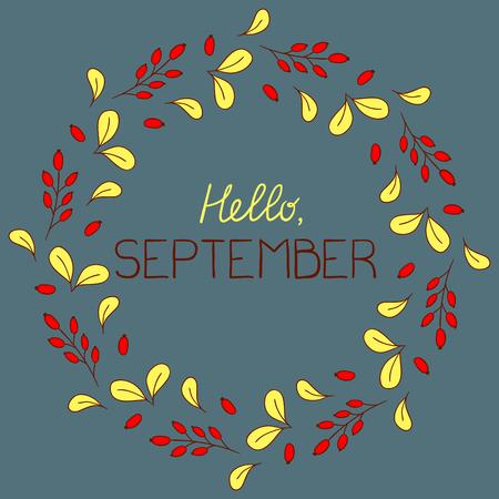 september: Autumn round frame. Hello September. Illustration