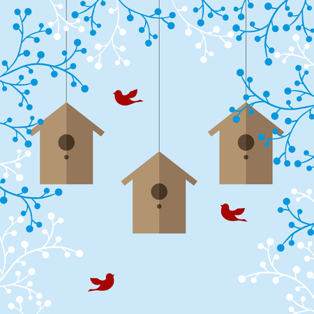 nesting: illustration of nesting boxes, branches and birds on light blue background Illustration