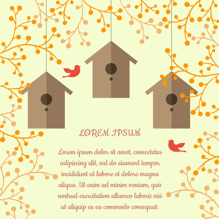 nesting: illustration of nesting boxes, branches and birds on light orange background