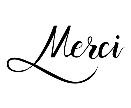 Merci. Brush hand lettering on white background