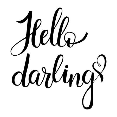 hi back: Hello, darling. Brush hand lettering on white background