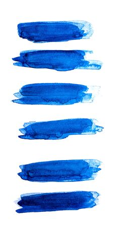 Close up of Blue strokes of watercolor paint of different sizes on a white isolated background.