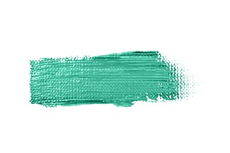 Green stroke of the paint brush isolated on white.