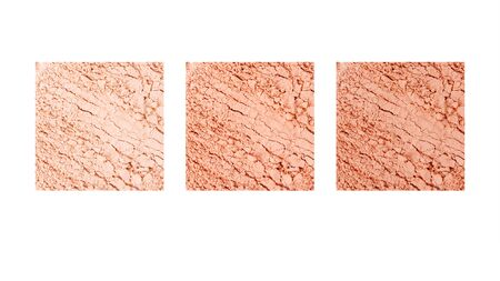 Set of crumbled natural powder make up on white background