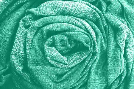 COLOR TREND 2020 mint. Abstract new mint color background. Seafoam Green fabric background. Green fabric texture Banco de Imagens